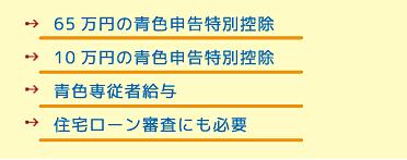 →65万円の青色申告特別控除 →10万円の青色申告特別控除 →青色専従者給与 →住宅ローン審査にも必要